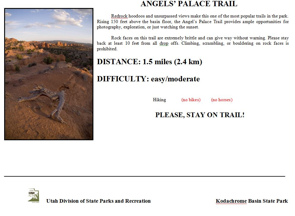 Angels Palace Trail Sign