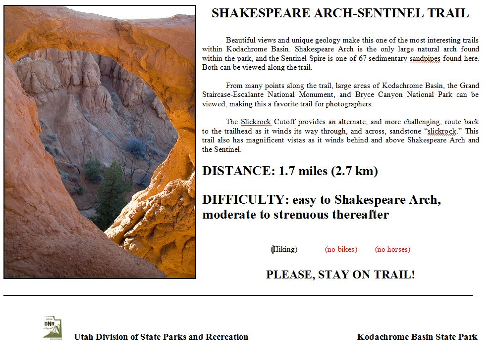 Shakespeare Arch Trail Sign