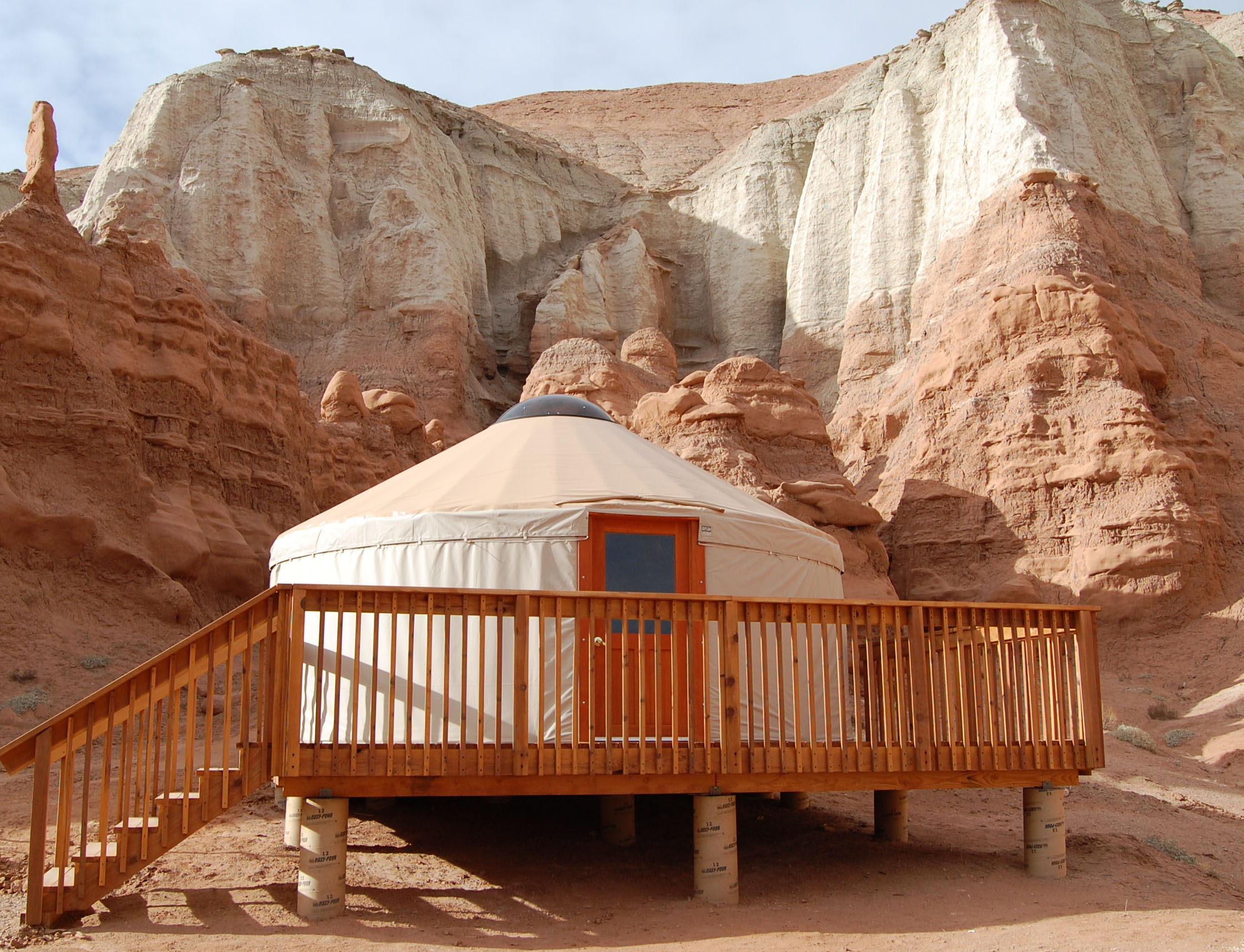 Yurts are available to rent at Goblin Valley