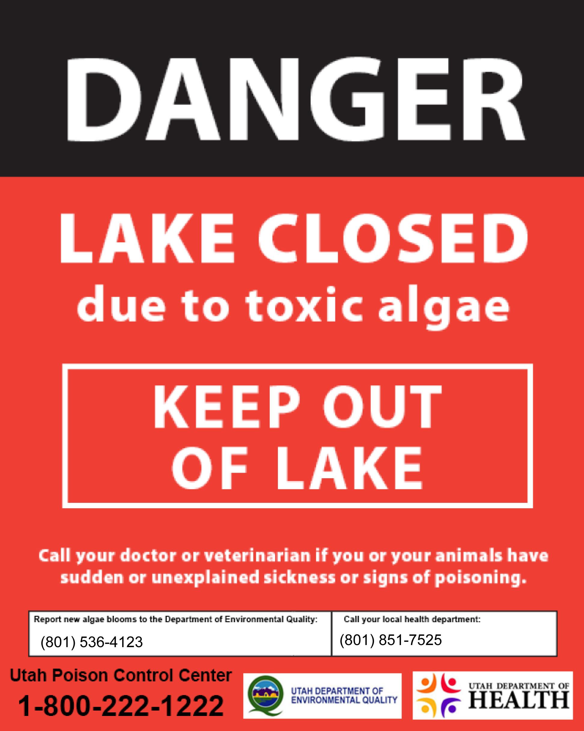 Sign for Utah Lake Algae Bloom