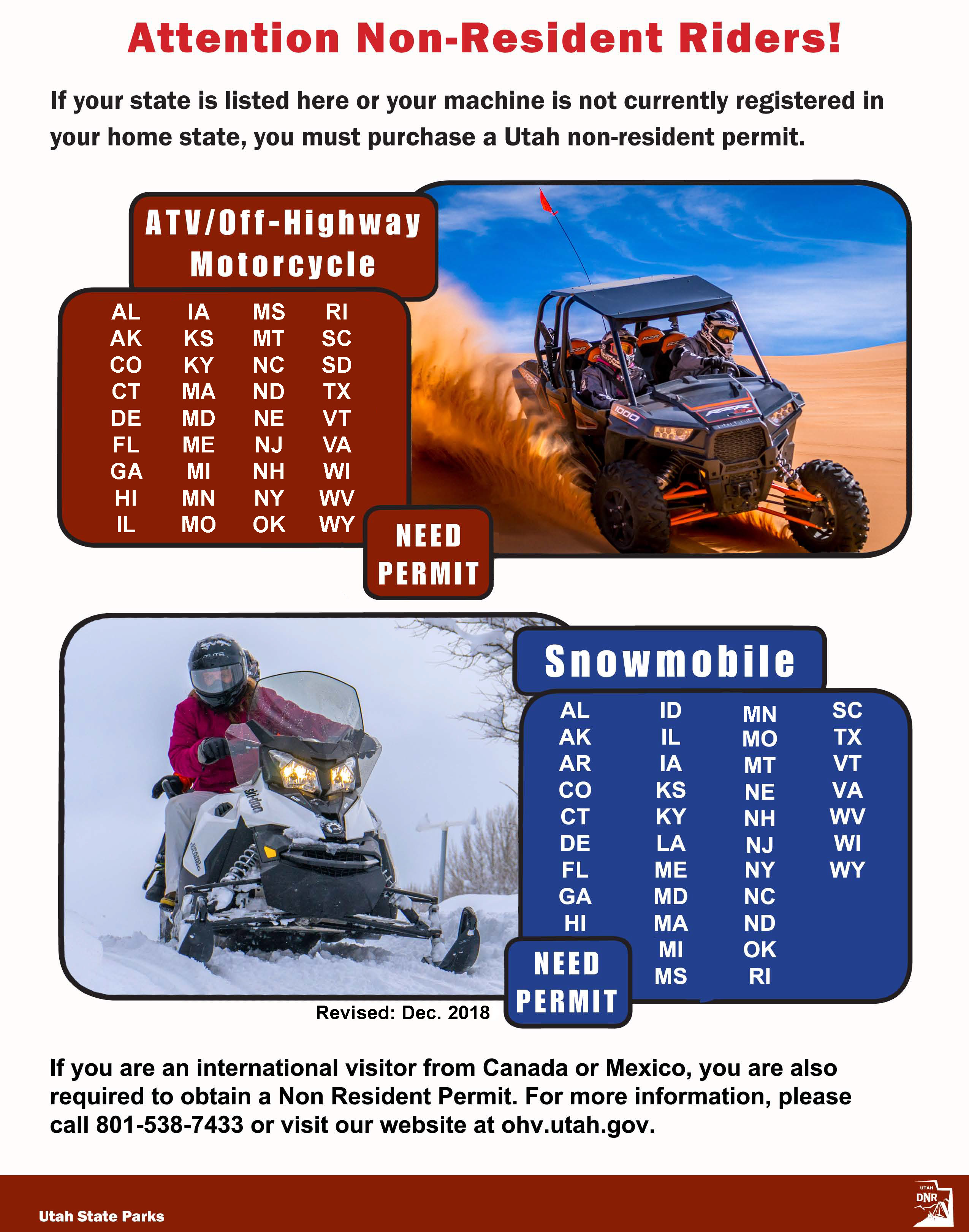 Non Resident Ohv Permits Utah State Parks